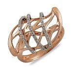 Кольцо Тайвань из красного золота с бриллиантами