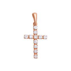 Золотой крестик в красном цвете с бриллиантами Вера