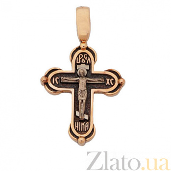 Крестик из красного золота Христос Спаситель HUF--11491-Ч