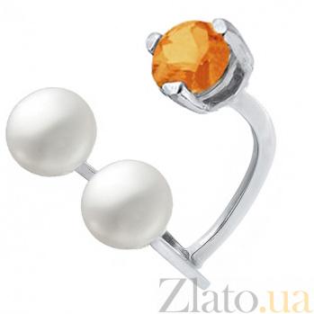 Серебряное кольцо с жемчугом и сердоликом Сезам 000017396