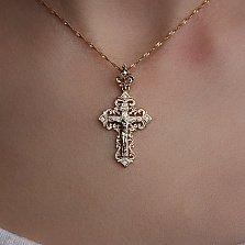 Золотой крестик Узорчатый с бриллиантами