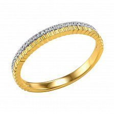 Кольцо Праздник из желтого золота с бриллиантами