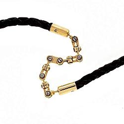 Кожаный шнурок Эвард со вставками золотой цепи Baraka