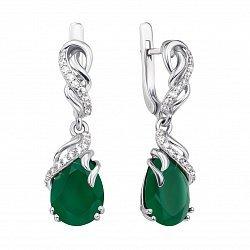 Серебряные серьги-подвески с зеленым агатом и фианитами 000134520