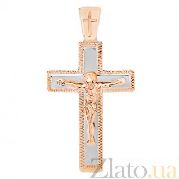 Крестик из комбинированного золота Силы Небесные HUF--101-М