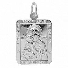 Серебряная ладанка Владимирская Богородица