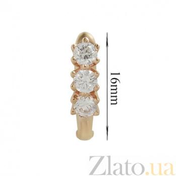 Золотые серьги с кристаллами Swarovski Велма 2С171-0126