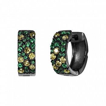Серебряные серьги-колечки Брина с зелеными и оливковыми фианитами 000082041