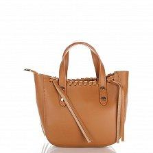 Кожаная сумка на каждый день Genuine Leather 1022 коньячного цвета на молнии со съемным ремнем