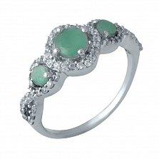 Серебряное кольцо Кимми с узорами на шинке, изумрудами и фианитами