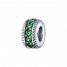 Серебряный шарм Нинель с зелеными нанокристаллами