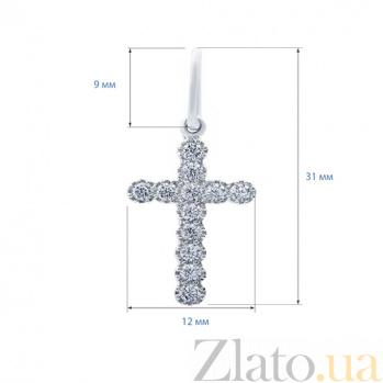 Серебряный крест с фианитами Светлый знак AQA--3398