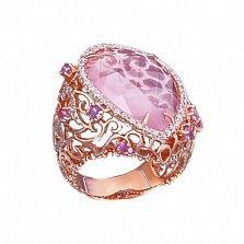 Золотое кольцо с розовым кварцем и бриллиантами Царевна