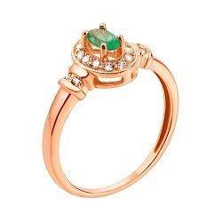 Кольцо из красного золота с изумрудом и фианитами 000131262