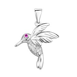 Серебряная подвеска Птица колибри с розовым и белыми фианитами
