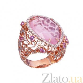 Золотое кольцо с розовым кварцем и бриллиантами Царевна KBL--К5000/крас/кварц