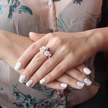 Серебряное кольцо Яркие лепестки с разноцветными фианитами и розовым перламутром