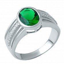 Серебряное кольцо Люсьен с синтезированным изумрудом и фианитами