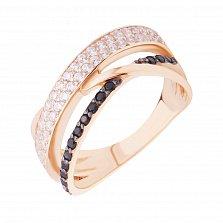 Золотое кольцо Контраст в красном цвете с черными и белыми фианитами