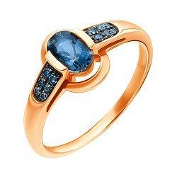 Золотое кольцо в комбинированном цвете с лондон топазом и бриллиантами 000139509