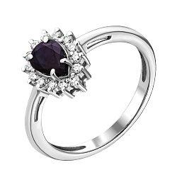 Золотое кольцо с бриллиантами и сапфиром 000021350