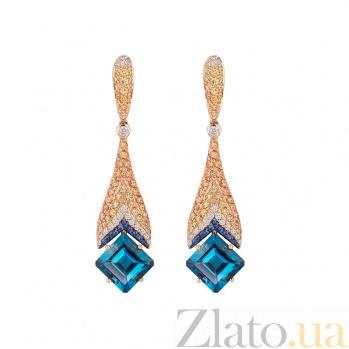 Золотые серьги с сапфирами и бриллиантами Solomia 1С113-0169