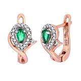 Позолоченные серебряные серьги с зелеными фианитами Кристабель