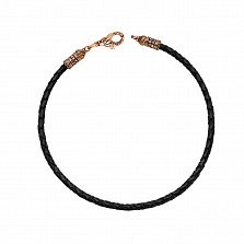 Кожаный браслет Молитва с золотым черненым замочком в форме рыбки