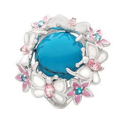Серебряное кольцо Венок из бабочек с бирюзой, эмалью и фианитами