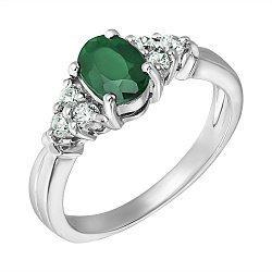 Серебряное кольцо с изумрудом и фианитами 000131721