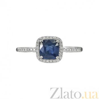 Золотое кольцо с сапфиром и бриллиантами Энергия океана 000026867