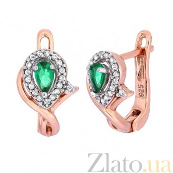 Позолоченные серебряные серьги с зелеными фианитами Кристабель SLX--СК3ФИ/340