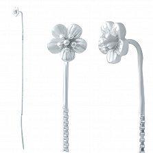 Серебряные серьги-протяжки Цветение