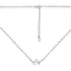 Серебряное колье с короной в якорном плетении 000134524