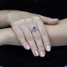 Серебряное кольцо Самуэла с зеленым кварцем и фианитами