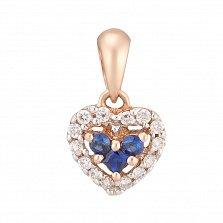 Золотой подвес Драгоценное сердечко в красном цвете с сапфирами и бриллиантами