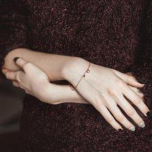 Браслет в красном золоте Сердечки с бриллиантами