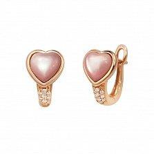 Серьги в красном золоте Два сердца с перламутрами и бриллиантами