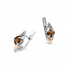 Серебряные родированные серьги Одри с золотыми накладками, раухтопазами и фианитами