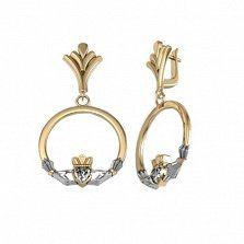 Золотые кладдахские серьги-подвески Царство любви с бриллиантами