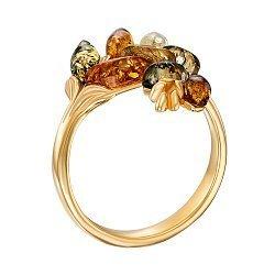 Серебряное кольцо с янтарем и позолотой 000137644