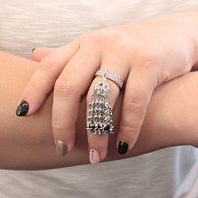 Серебряное кольцо Арабская сказка с подвеской-косточкой с белыми и черными фианитами