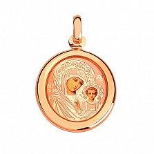Ладанка из красного золота Казанская Божья Матерь с эмалью