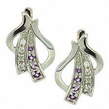 Серебряные серьги с бриллиантами и аметистами Аркадия