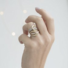 Золотое кольцо Элизабетта с кристаллами циркония