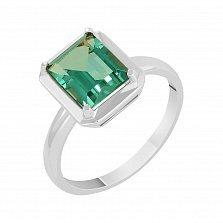 Кольцо в белом золоте Ванесса с синтезированным зеленым кварцем
