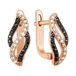 Сережки з червоного золота з доріжками чорних та білих фіанітів 000130504