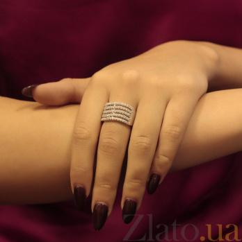 Серебряное кольцо Грация с дорожками белых кристаллов Swarovski 10000005