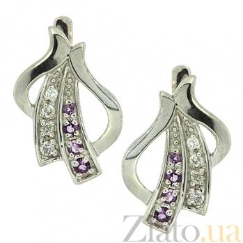 Серебряные серьги с бриллиантами и аметистами Аркадия ZMX--EDAm-6457-Ag_K