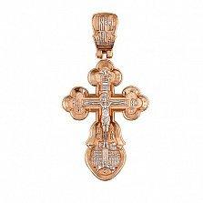 Золотой крестик с белым родированием Воскресный